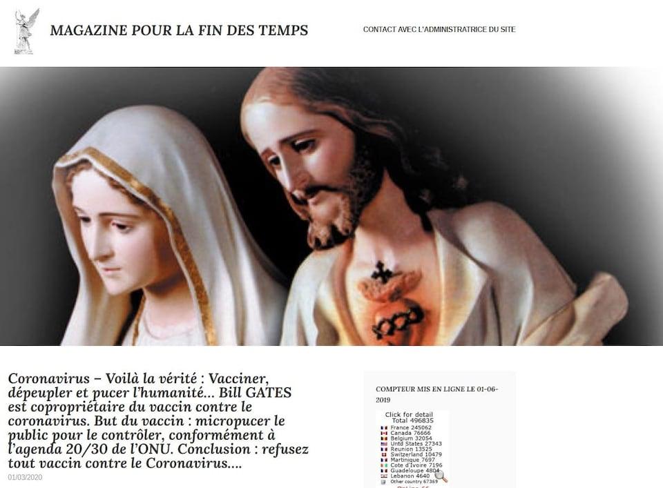 Capture d'écran d'un texte disant que Bill Gates veut vacciner les gens pour dépeupler la planète. On y voit une photo de Jésus et de la Vierge Marie.