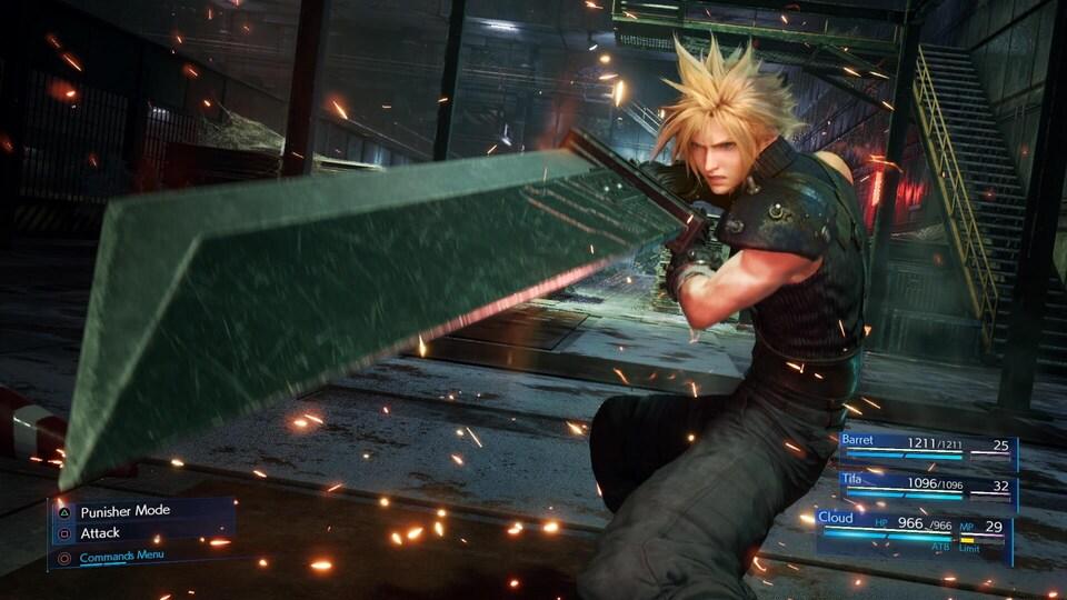 Un personnage de jeu vidéo pointe une épée vers la caméra.
