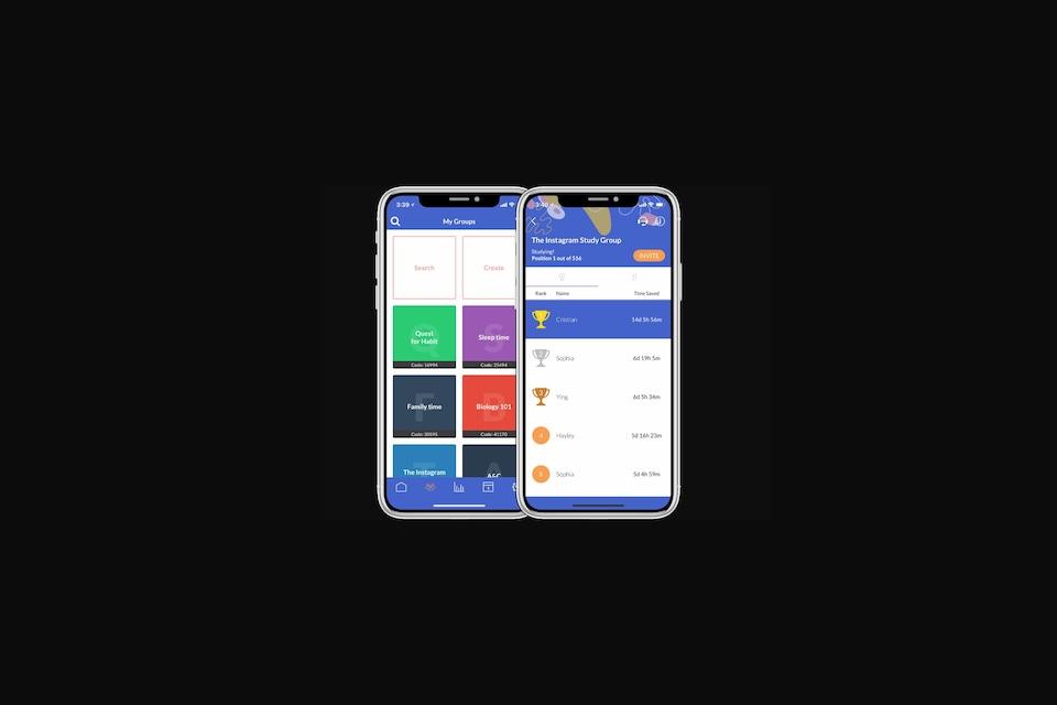 Une image montrant des menus de l'application Flipd sur des iPhone X.