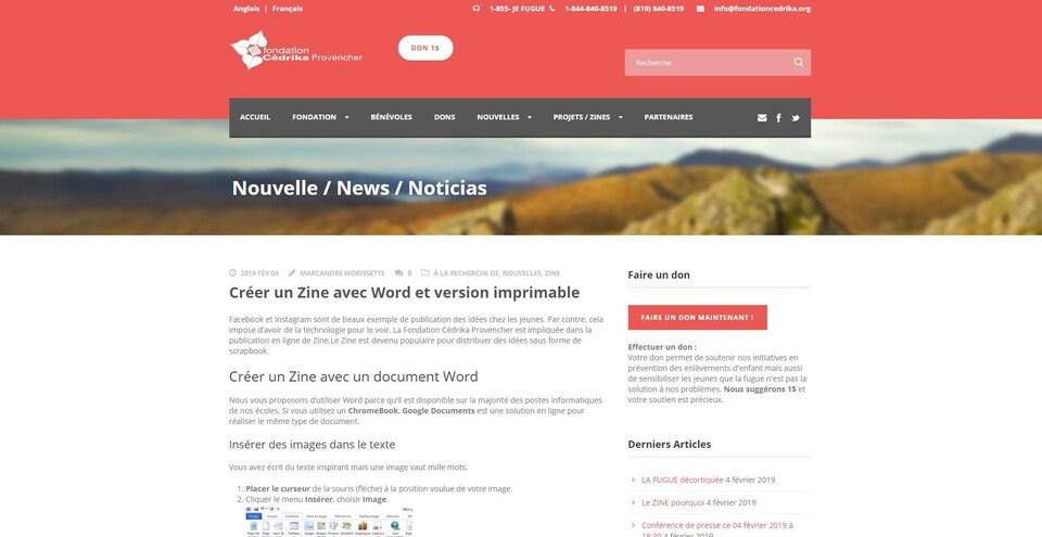 Page internet de la Fondation Cédrika Provencher