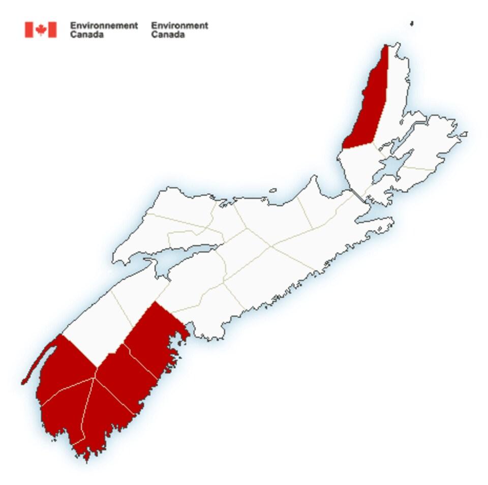Carte de la Nouvelle-Écosse avec les alertes météorologiques.