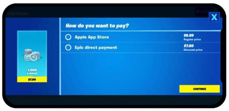 L'écran d'un téléphone, qui présente les options de payer directement via l'Apple Store (9,99 $) ou de passer directement par Epic (7,99 $).