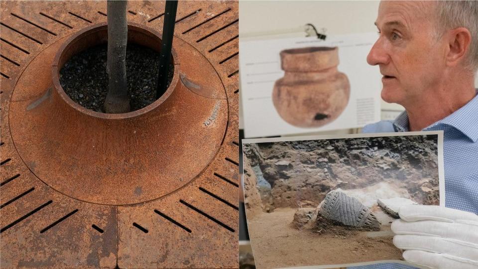 Montage de 2 photos. À gauche, une fosse d'arbre avec des rainures obliques. À droite, un morceau de poterie autochtone dont les rainures ont inspiré le design de la fosse d'arbre.