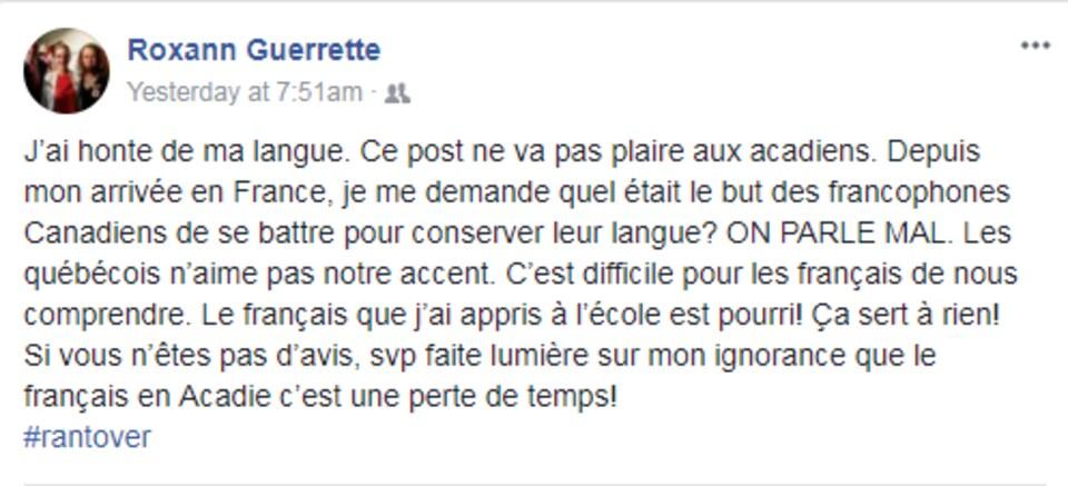 La publication de Roxann Guerette a suscité plus de 250 commentaires et une centaine de partages.