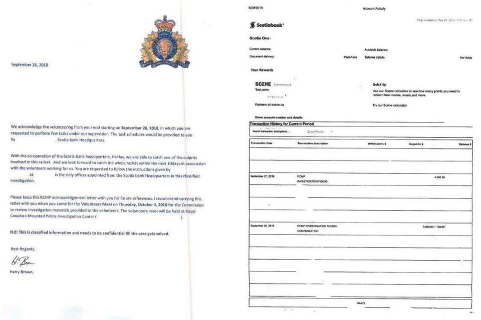 Documents falsifiés utilisés pour une fraude et partagés par la GRC.