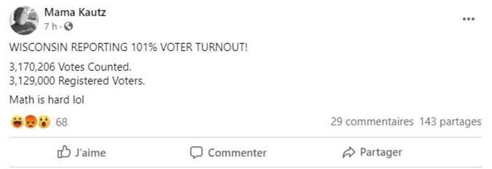 Capture d'écran de la première publication Facebook relayant la fausse information.
