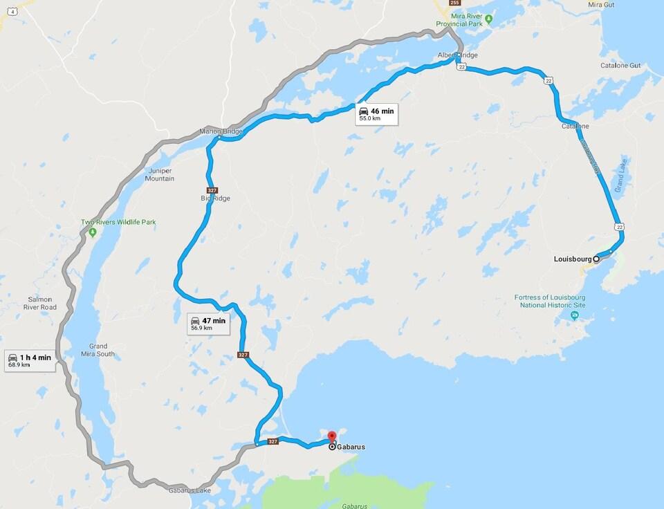Carte Google Maps de l'itinéraire entre Gabarus et Louisbourg.