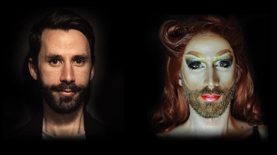 Une photo d'un jeune homme à gauche. Le même homme métamorphosé dans son personnage de drag queen à droite.