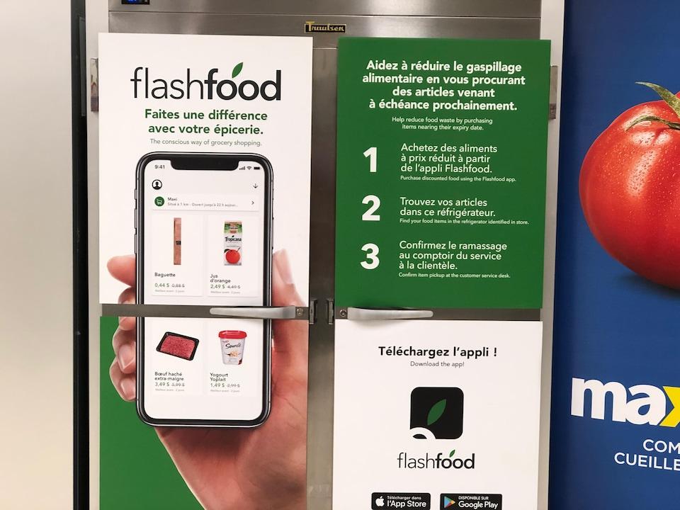 Une affiche illustrant l'application Flash Food et son mode d'emploi.