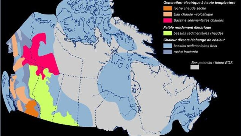 Carte montrant les différentes régions ayant un potentiel géothermique.