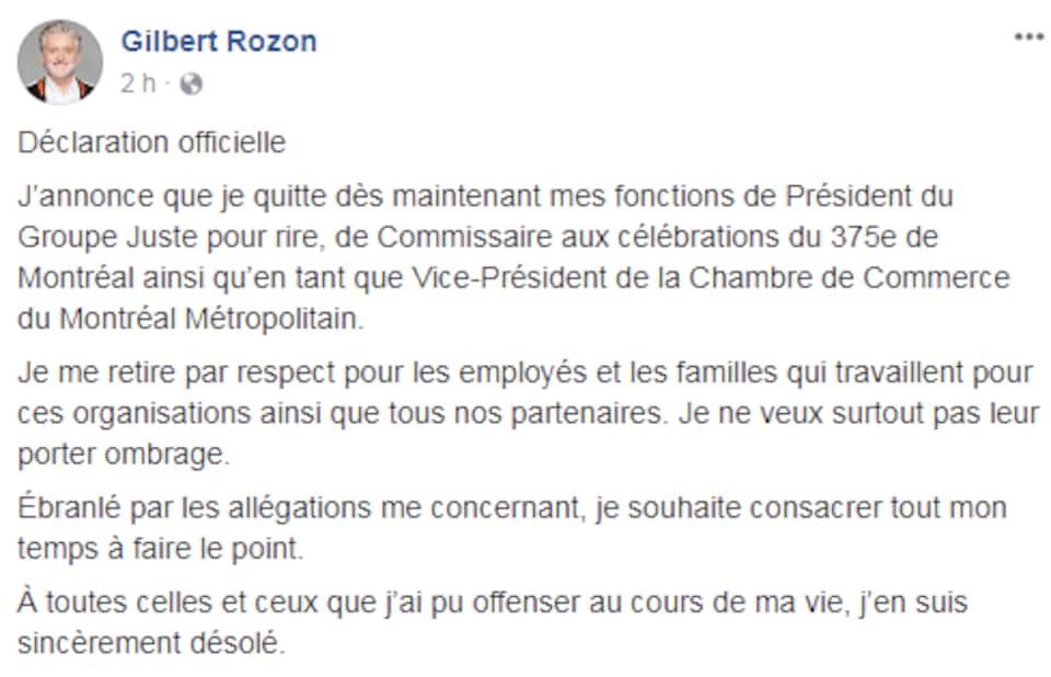 Gilbert Rozon a officiellement annoncé mercredi soir qu'il quittait ses fonctions en raison d'allégations qui le concernent.