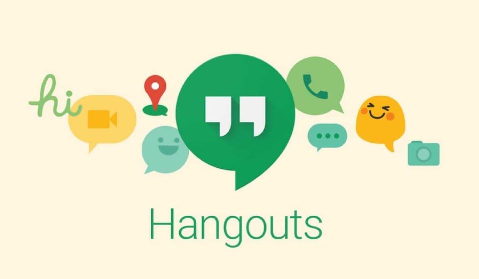 Image promotionnelle de Google Hangouts. On y voit son logo, des bulles de texte et des émoticônes.
