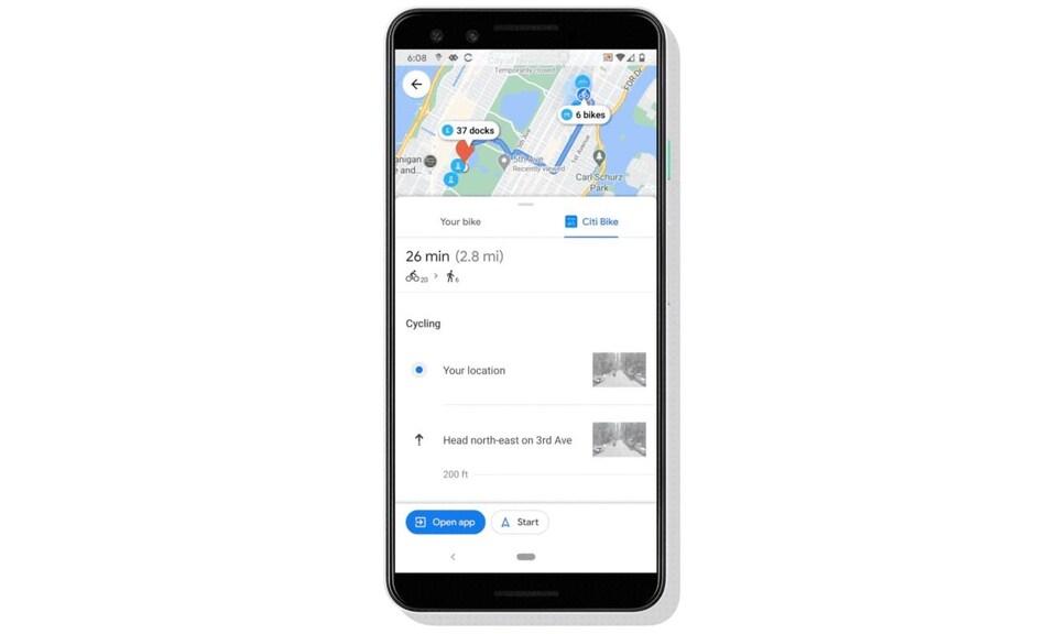Un écran de téléphone qui montre un trajet de vélopartage sur Google Maps.