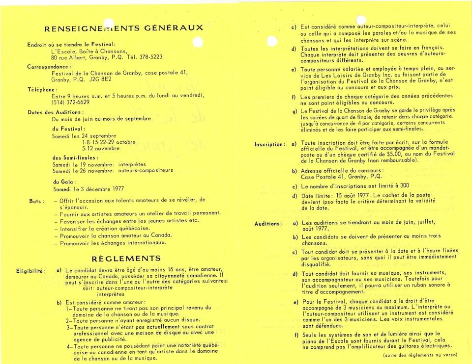 Document d'archive présentant les renseignements pour s'inscrire au Festival.