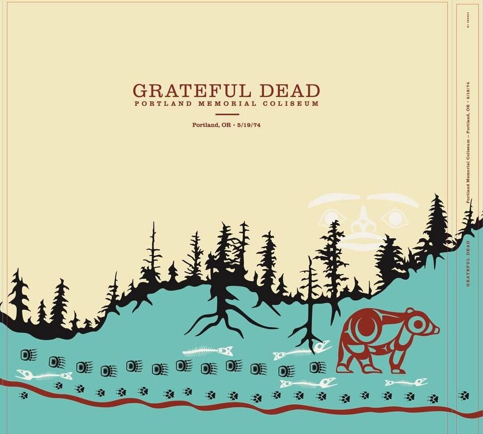 Une pochette d'album où on voit un ours marcher dans une forêt.