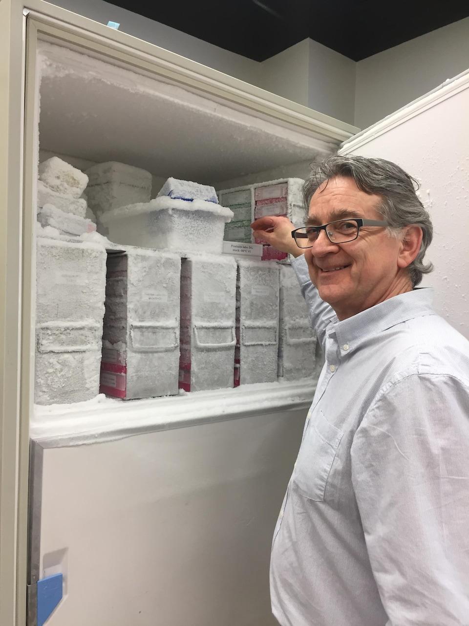 Le microbiologiste Daniel Grenier conserve précieusement les lignées cellulaires qui lui ont permis de mesurer l'activité antibactérienne de composés issus du lichen Stereocaulon paschale.