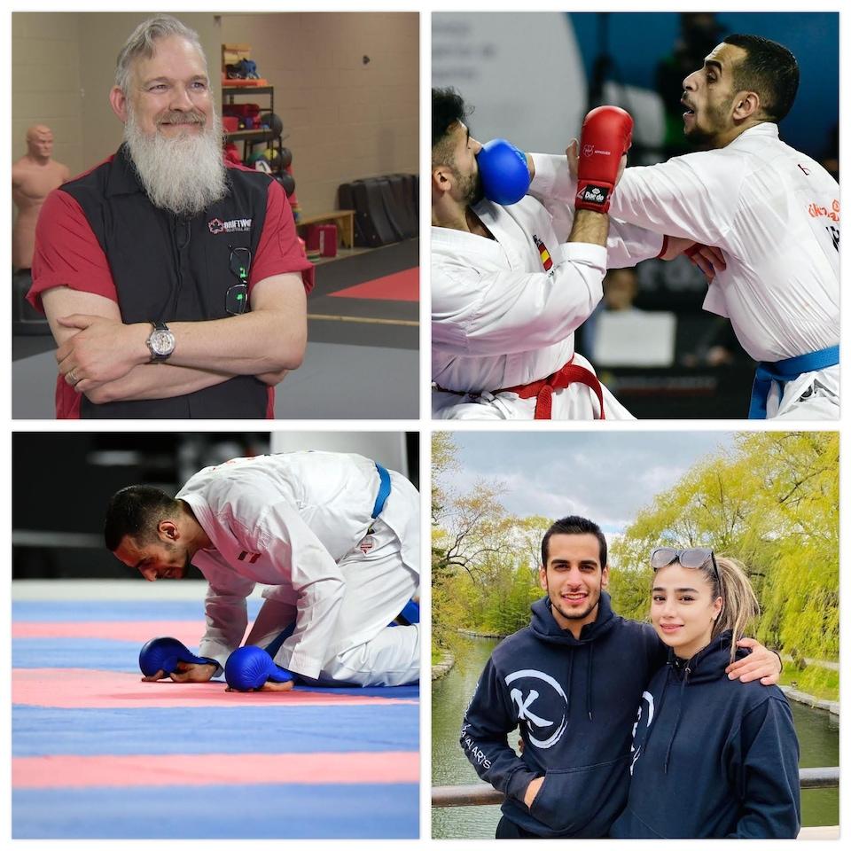 Un montage de quatre photos sur lesquelles figurent Darren Chapman, Hamoon Derafshipour et sa femme Samira Malekipour.