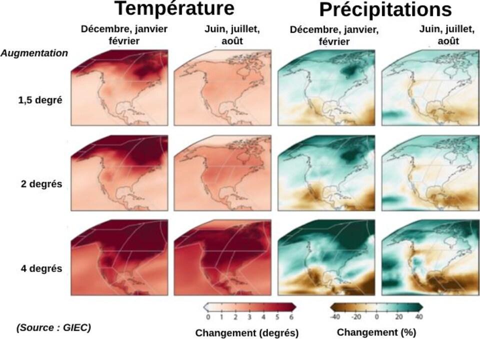 12 cartes en couleur qui représentent l'ampleur du changement climatique en Amérique du Nord.