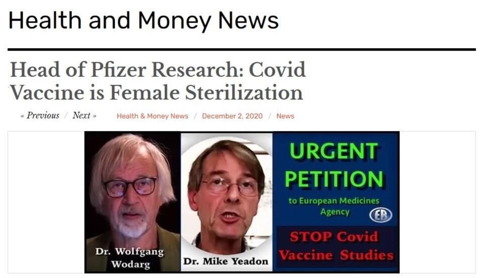 Capture d'écran d'un billet du site Health and Money News. Le titre, en anglais, est : « Directeur de la recherche de Pfizer: le vaccin COVID, c'est de la stérilisation féminine ».