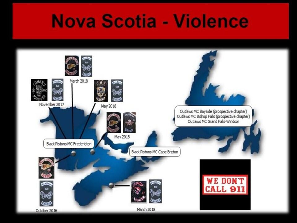 Une carte indiquant les endroits où les incidents se sont produits en Atlantique