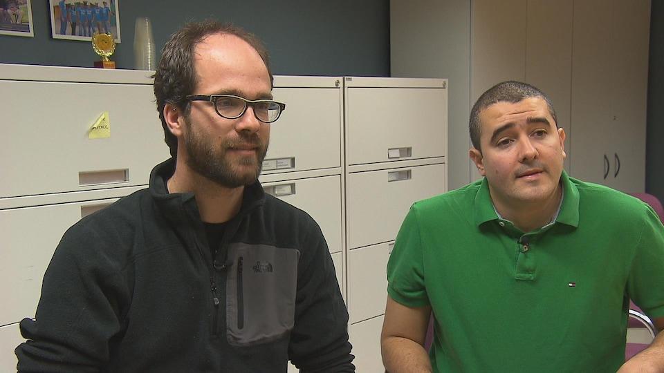 Hubert Cabana, professeur département de génie civil Université de Sherbrooke et Sebastian Sanchez, finissant à la maîtrise en génie civil et ingénieur en environnement