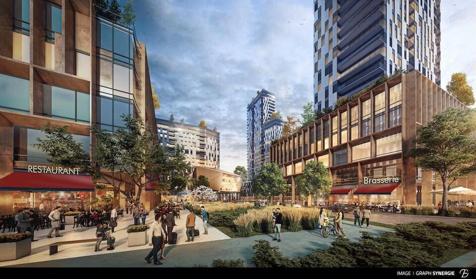Une maquette d'un projet immobilier avec des grattes-ciel et des restaurants, et des gens qui marchent sur une place publique.