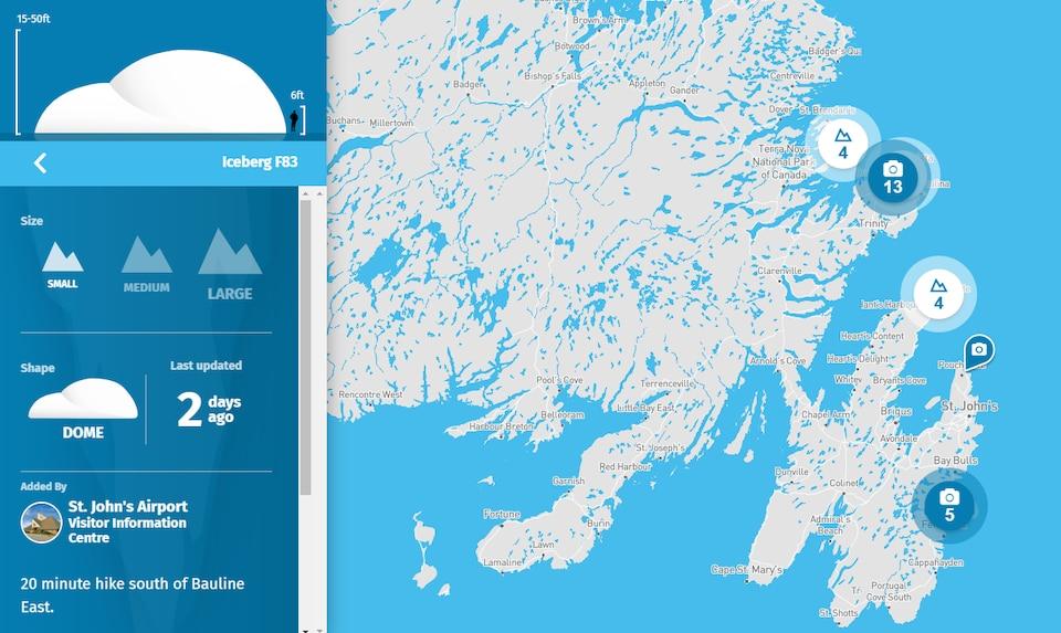 Un aperçu de l'interface du site web IcebergFinder.com.