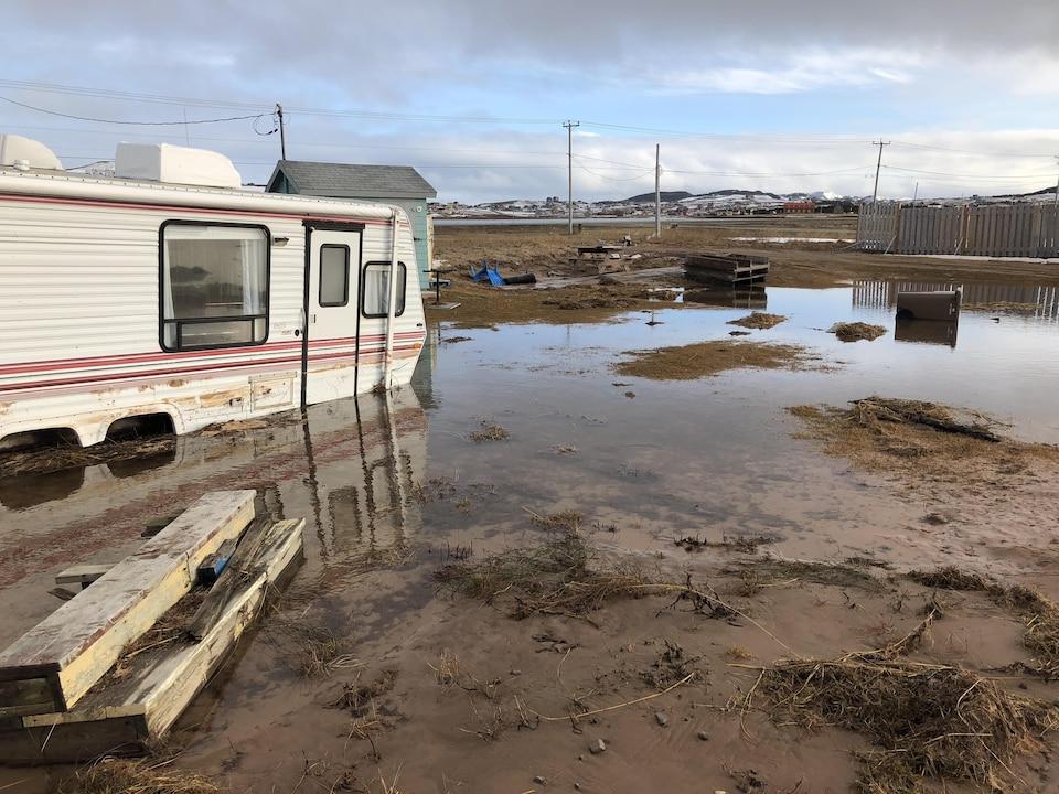 Un terrain inondé