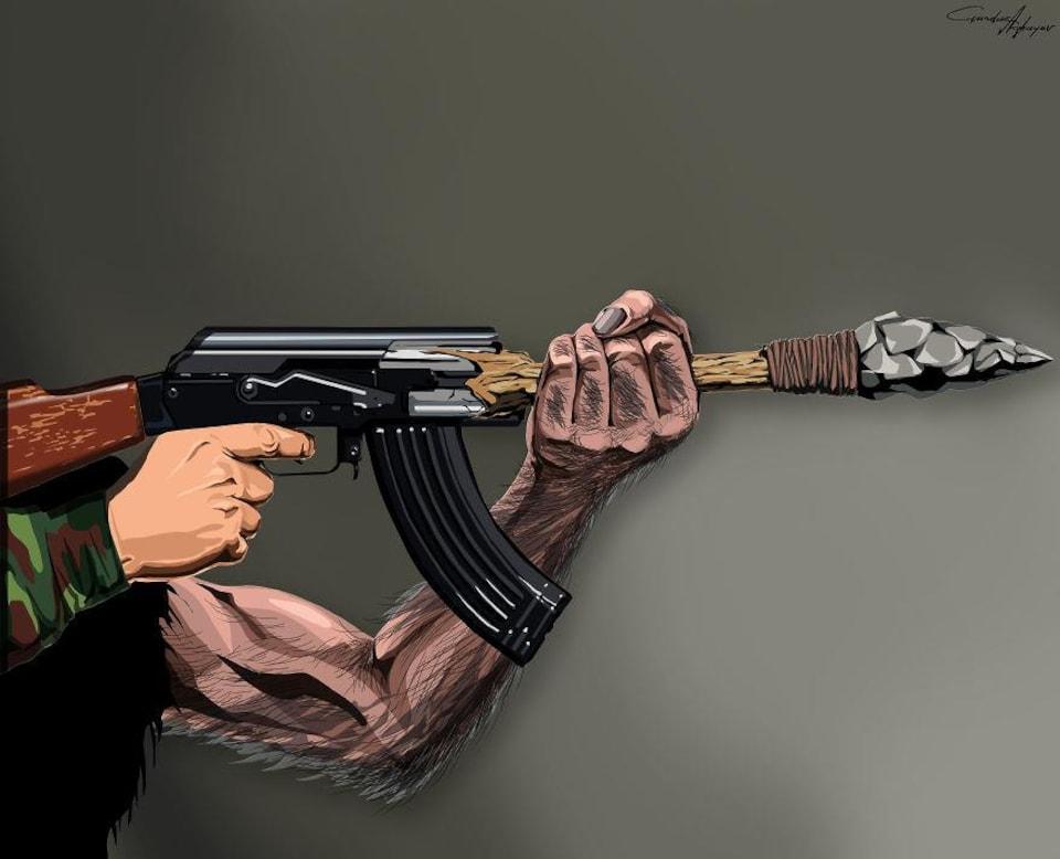 Le lance-mitraillette, une oeuvre de Gunduz Aghayev.