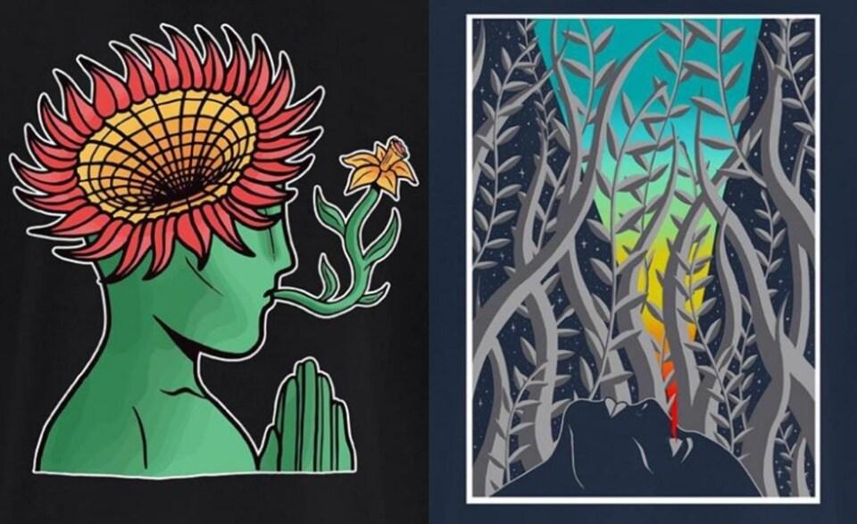 Une image à gauche, c'est une illustration d'un visage vu de côté, vert, avec une fleur qui sort de sa tête et une fleur dans la bouche. L'autre image à gauche, ce sont des branches de plantes sous un ciel ensoleillé