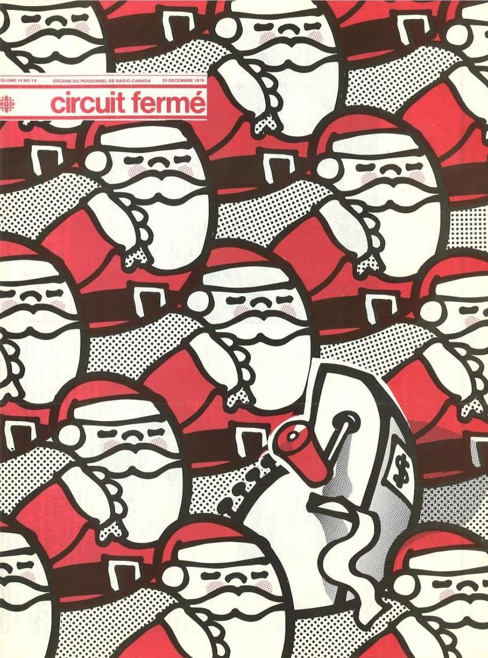 Illustration de couverture montrant un groupe serré de pères Noël avec au milieu une caisse enregistreuse.
