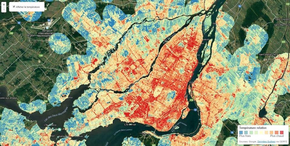 Îlots de chaleur urbains à Montréal.