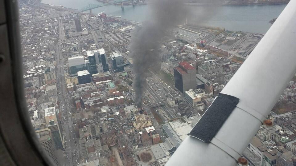 L'incendie vu des airs