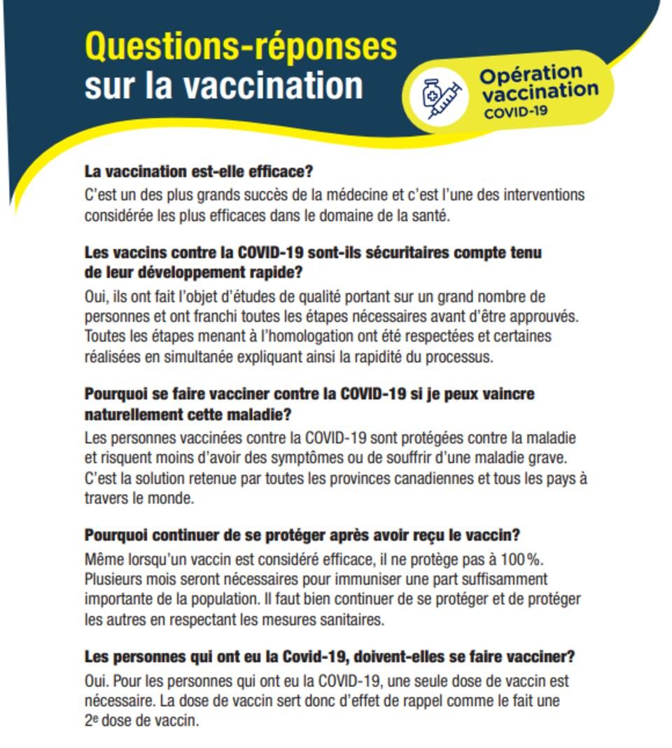 Un document informatif sur le vaccination