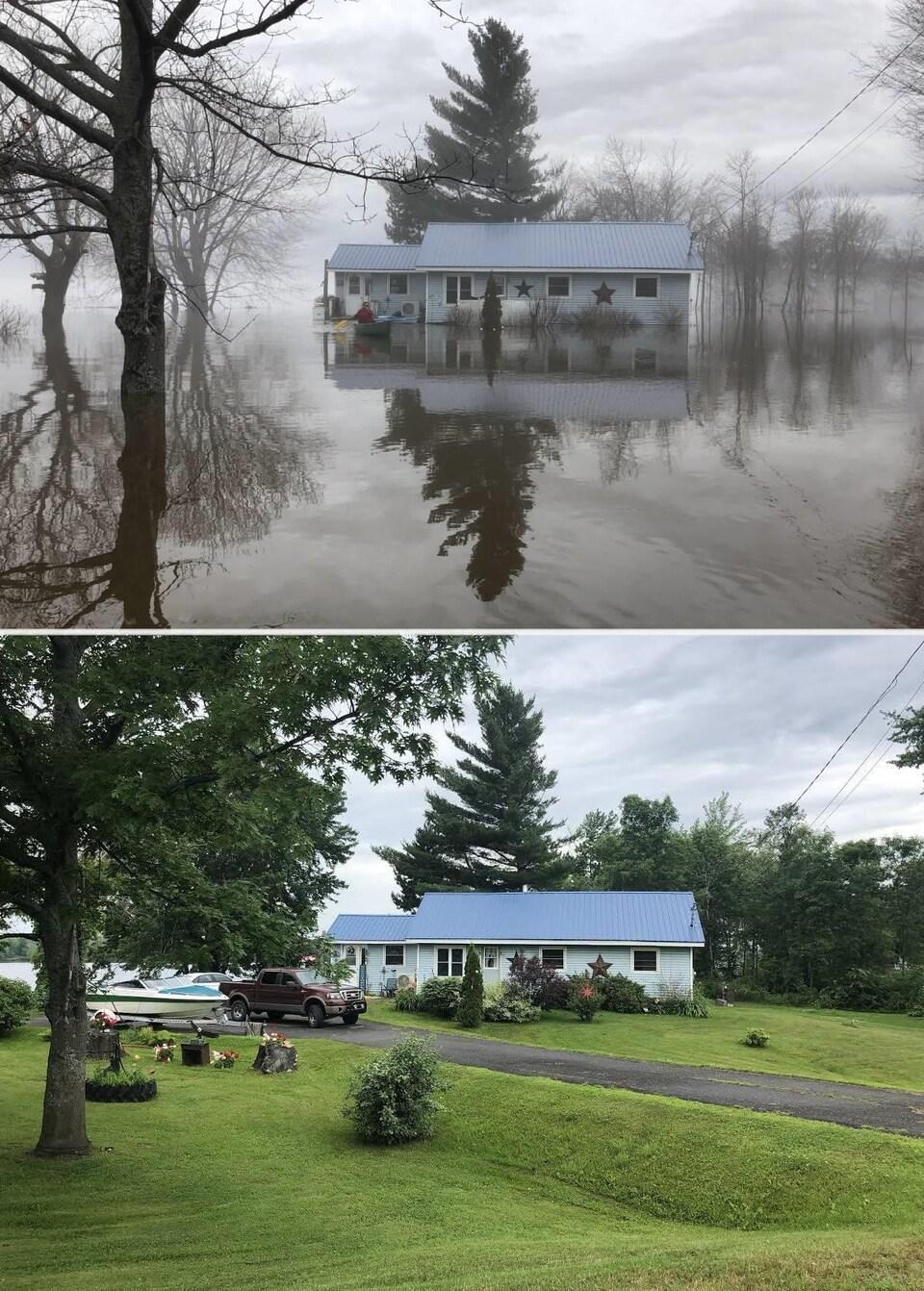 Photos de la maison pendant et après l'inondation.
