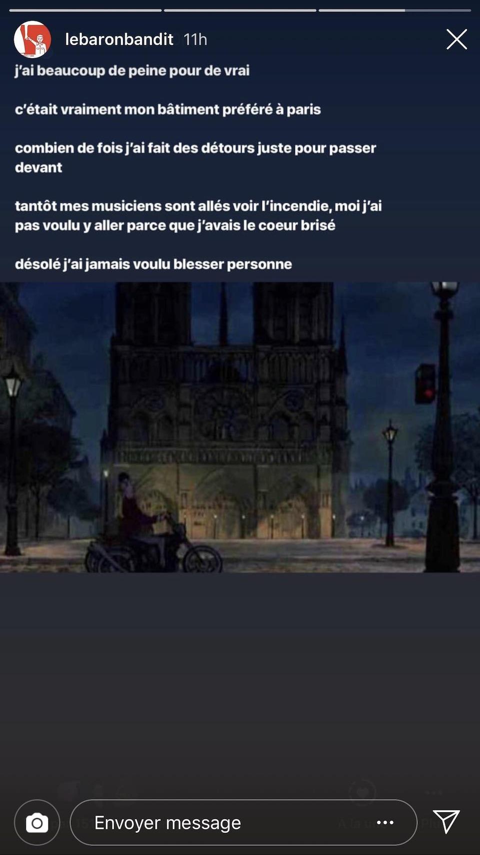 Capture d'écran de la publication Instagram d'Hubert Lenoir