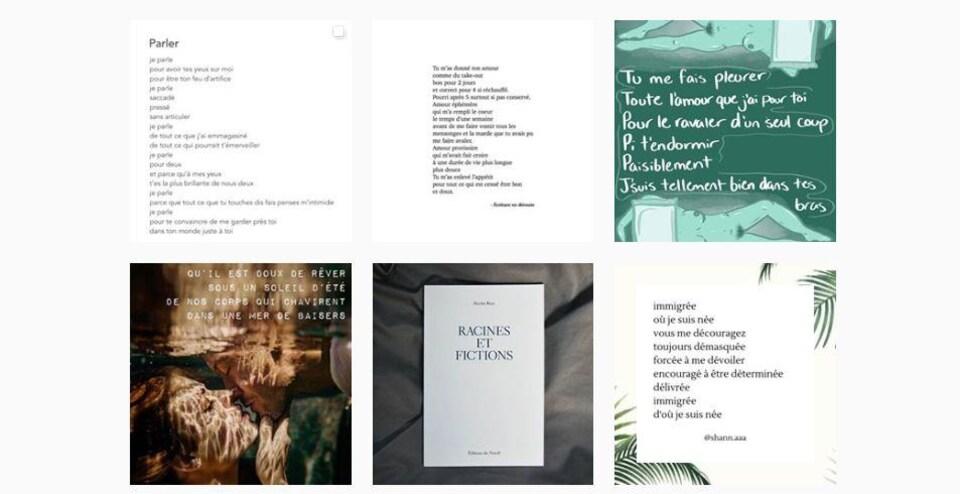 Des extraits de poèmes publiés sur Instagram