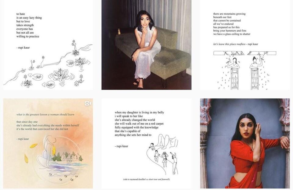 Des extraits de poèmes et des photos de Rupi Kaur sur Instagram.