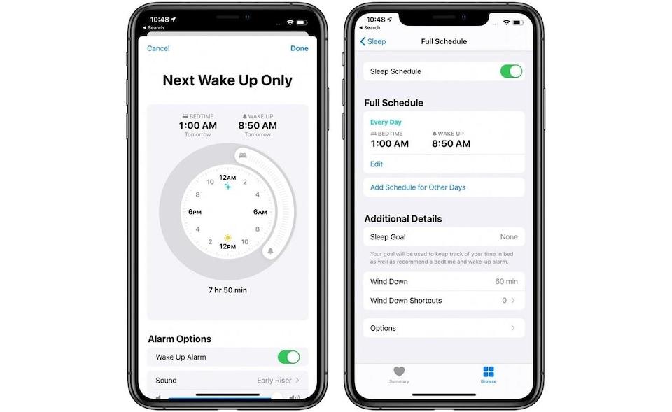 Deux iPhone côte à côte. On y voit des fonctionnalités de gestion de cycle du sommeil dans l'application Santé.