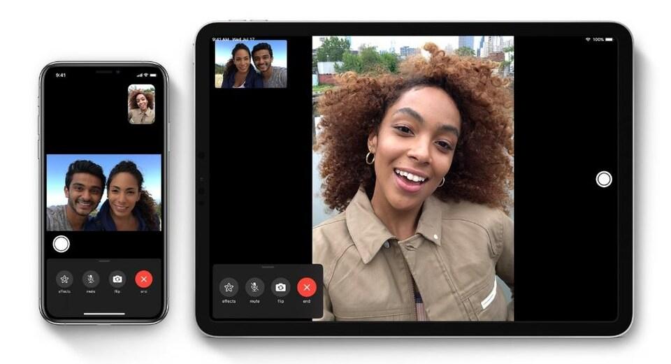 Des personnes ont des conversations vidéo sur un iPhone et sur un iPad.