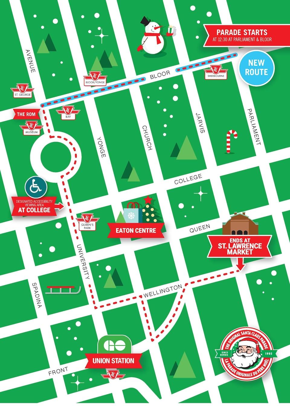 Une carte montrant le parcours du défilé, qui est passé au centre-ville de Toronto.