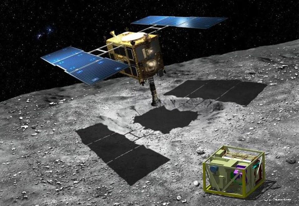 Représentation artistique de la sonde Hayabusa 2 qui recueille un échantillon de matière sur l'astéroïde Ruygu.