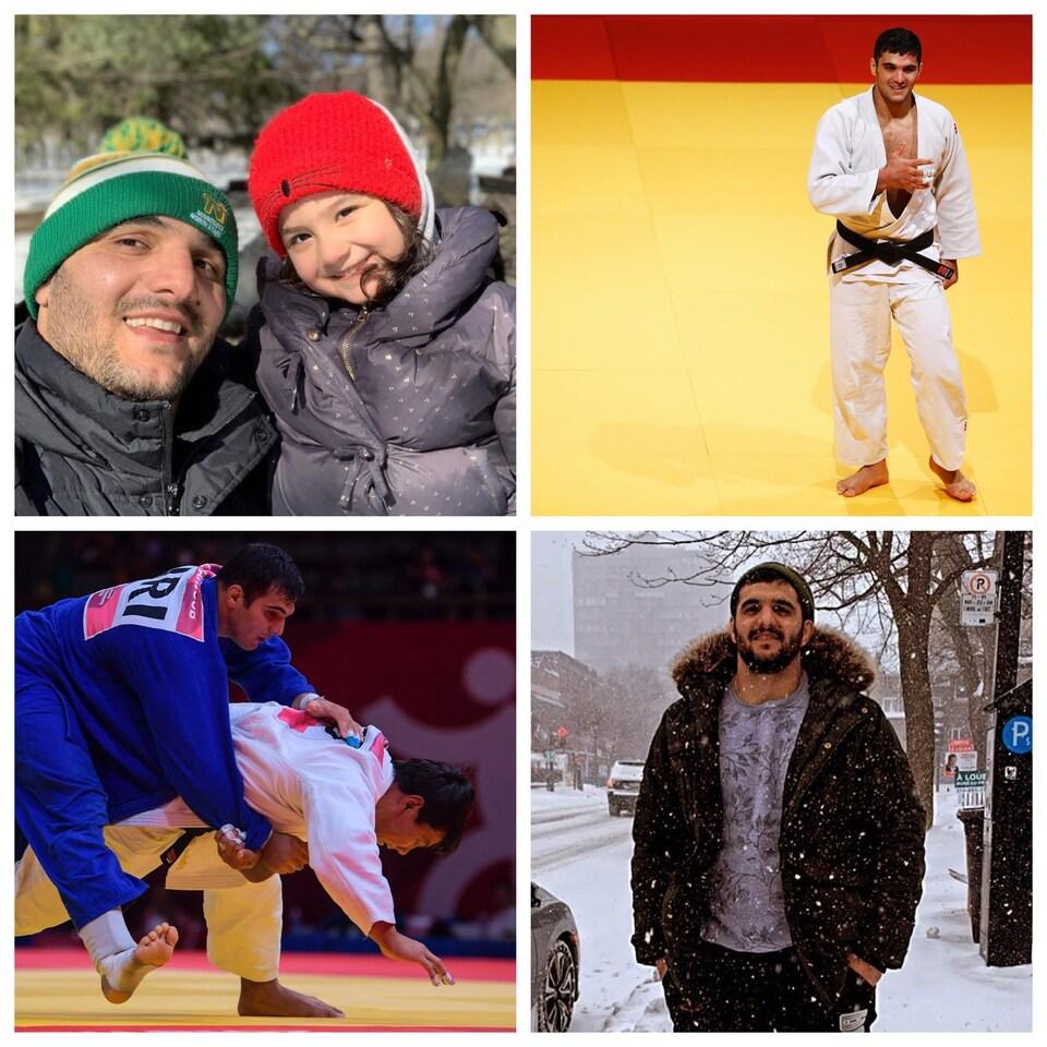 Un montage de quatre photos sur lesquelles figurent Javad Mahjoub et sa petite fille ainsi que l'athlète lors de compétitions de judo ainsi que dehors sous la neige.