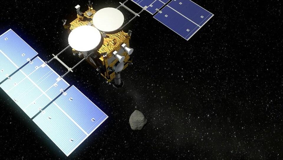 Représentation artistique de la sonde Hayabusa 2 et de l'astéroïde Ryugu.