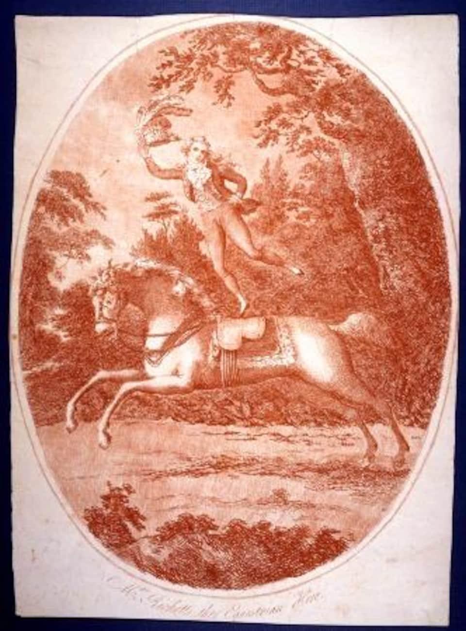 Gravure datée d'environ 1800 représentant John Bill Ricketts debout sur un cheval galopant