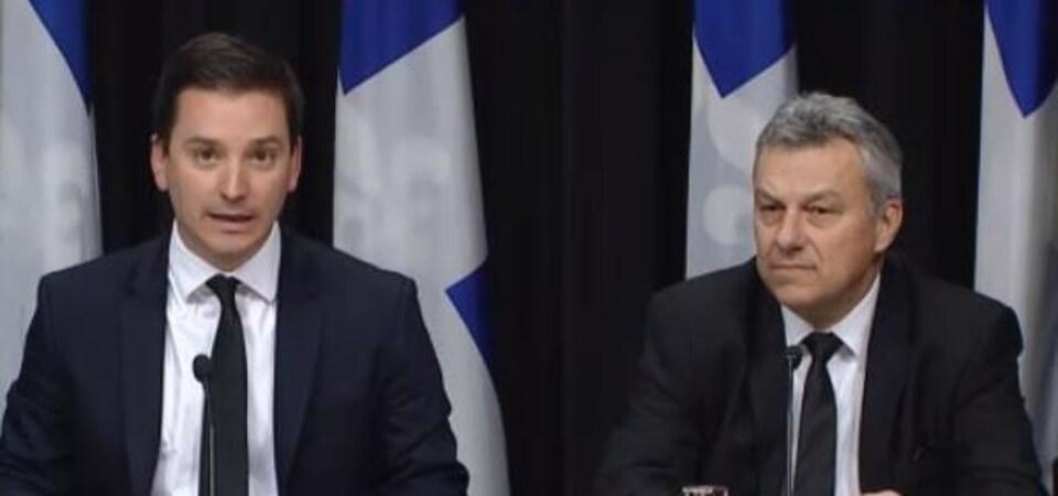 Simon Jolin-Barrette, ministre de l'Immigration, avec son sous-ministre Bernard Matte