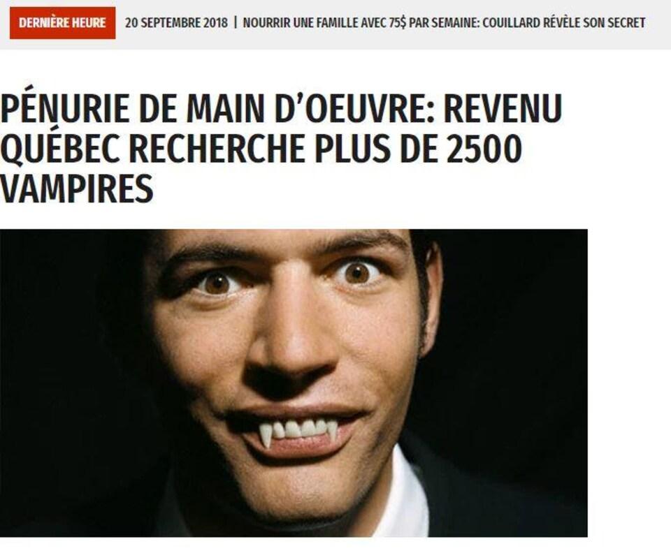 Une manchette du Journal de Mourréal avec la photo d'un vampire : «Pénurie de main-d'oeuvre : Revenu Québec recherche plus de 2500 vampires»