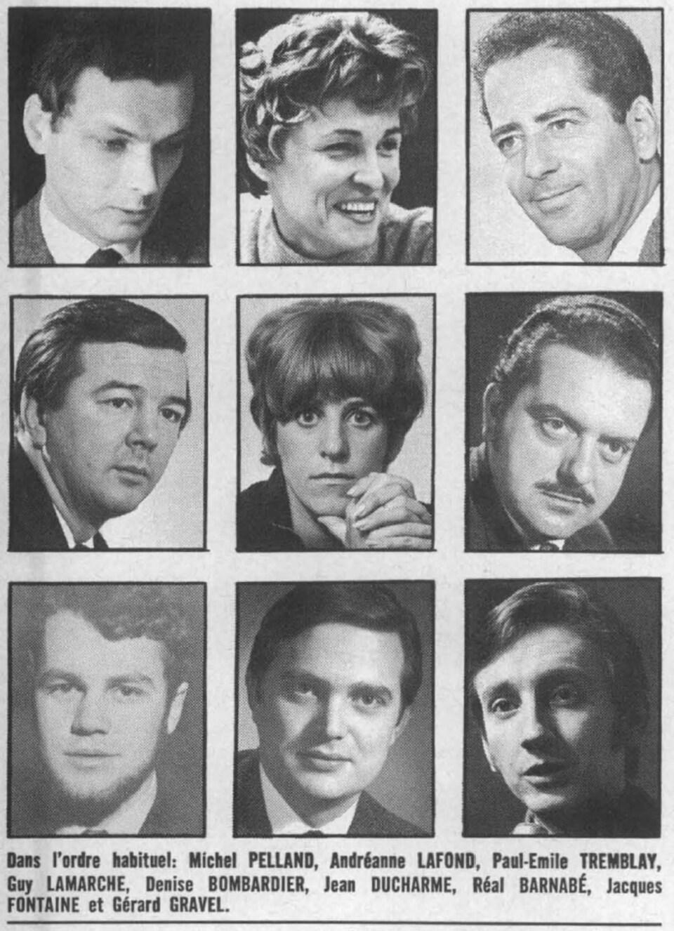 Coupure du guide horaire Ici Radio-Canada avec un collage des photos des 9 journalistes des émissions Format 30 et Format 60.