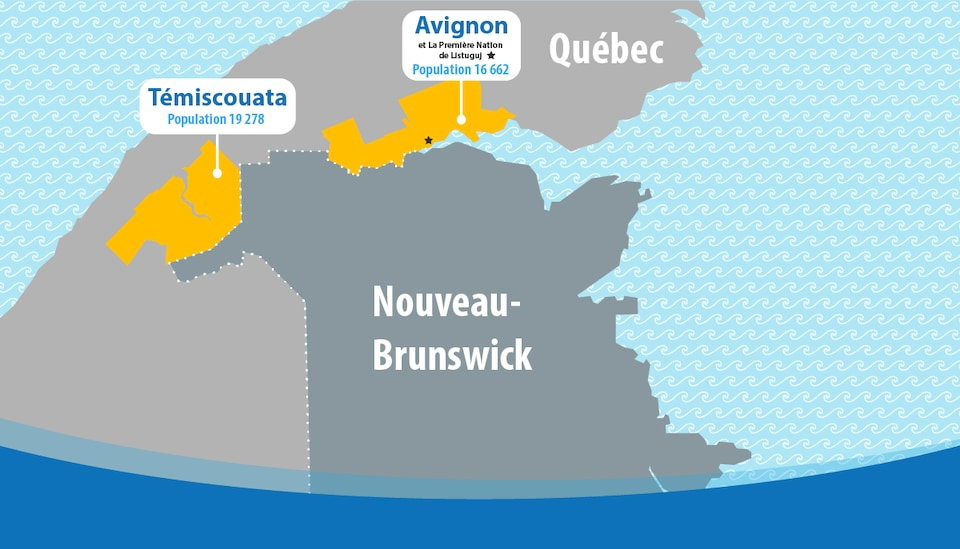 Carte montrant les régions frontalières du Nouveau-Brunswick et du Québec.