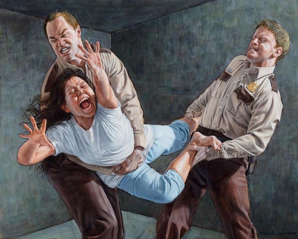 """Tableau """"Study for Two Figures Restraining a Third"""" de Kent Monkman."""
